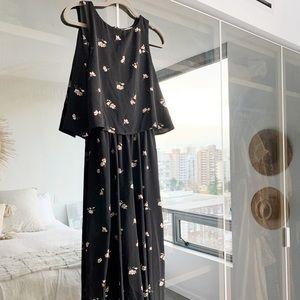 Oak + Fort black floral jumpsuit - Sz Small